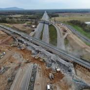 Mammutprojekt: die Großbaustelle am Autobahnkreuz Darmstadt, wo eine Brücke abgerissen wird.