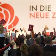 """Abstimmung auf dem SPD-Parteitag am Wochenende vom 6. Dezember 2019 über den Aufbruch in """"die neue Zeit""""."""
