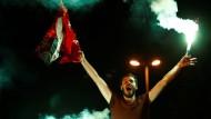 Ein Erdogan-Fan feiert in Istanbul.