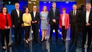 Von links nach rechts: Andrea Nahles, Bernd Riexinger, Annalena Baerbock, Christian Nitsche, Tina Hassel, Annegret Kramp-Karrenbauer, Markus Söder, Christian Lindner, und Jörg Meuthen