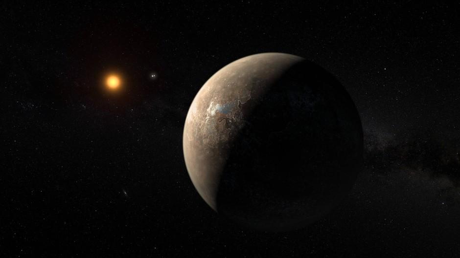 In nur elf Tagen umkreist Proxima b seinen Heimatstern, hier in künstlerischer Darstellung.