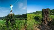 Vorher und nachher: Die Statue des Künstlers Ales 'Maxi' Zupevc in dem slowenischen Ort Sevnica wurde offenbar abgebrannt.