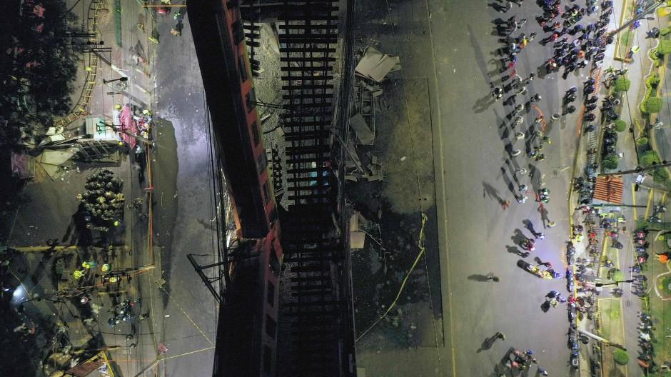 Schrecklicher Anblick: der Unglücksort in Mexiko-Stadt von oben