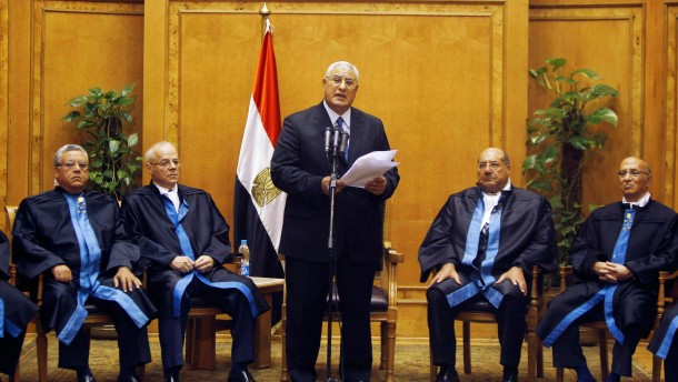 Adli Mansour, Egypt's chief justice and head of the Supreme Constitutional Court, speaks at his swearing in ceremony as the interim president in Cairo