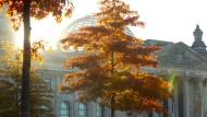 Herbstlich gefärbte Bäume vor dem Reichstag in Berlin