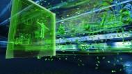 Soll so die Zukunft der Demokratie aussehen? Visualisierung von  Datenströmen eines Touchscreen Computers.