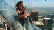 Glasrutsche über den Dächern von Los Angeles