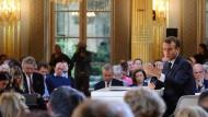 Premiere: Präsident Macron empfängt nach zwei Jahren erstmals Journalisten zu einer Pressekonferenz in seinem Amtssitz