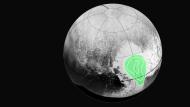 """New Horizons"" fotografiert gefrorenes Kohlenmonoxid im Herzen von Plutos ""Herz""."