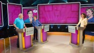 """Bitte recht freundlich: Die Kandidaten Gerd und Christiane gehen höflich miteinander um. Moderatorin Petra Theisen stellt seit sieben Jahren bei """"Wer weiß es?"""" die Fragen."""