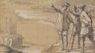 """Zeugnis der Vergangenheit: Horace le Blanc """"Militärszene"""", Feder mit brauner Tinte"""