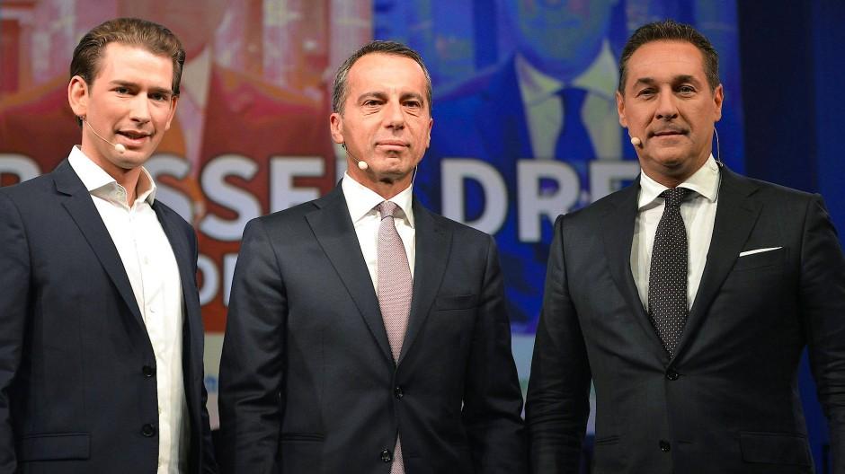 Wer regiert künftig Österreich? Sebastian Kurz, Christian Kern und Heinz-Christian Strache beim TV-Duell im September.
