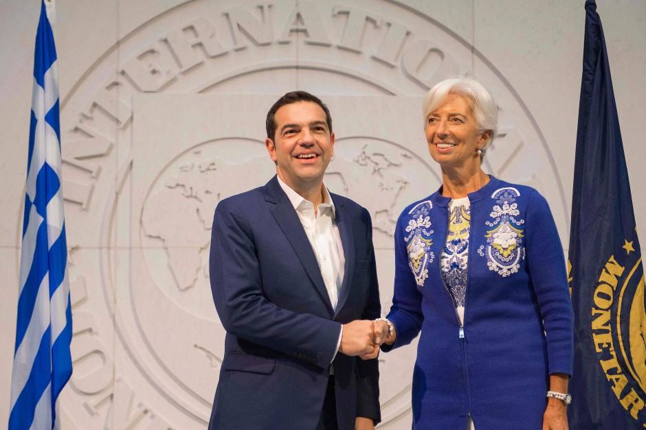 Tsipras Mitte Oktober in der Zentrale des Internationalen Währungsfonds in Washington mit IWF-Präsidentin Christine Lagarde