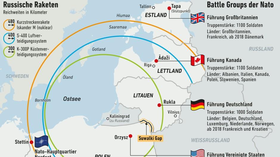 Infografik / Karte / Russische Raketen und Battle Groups der Nato
