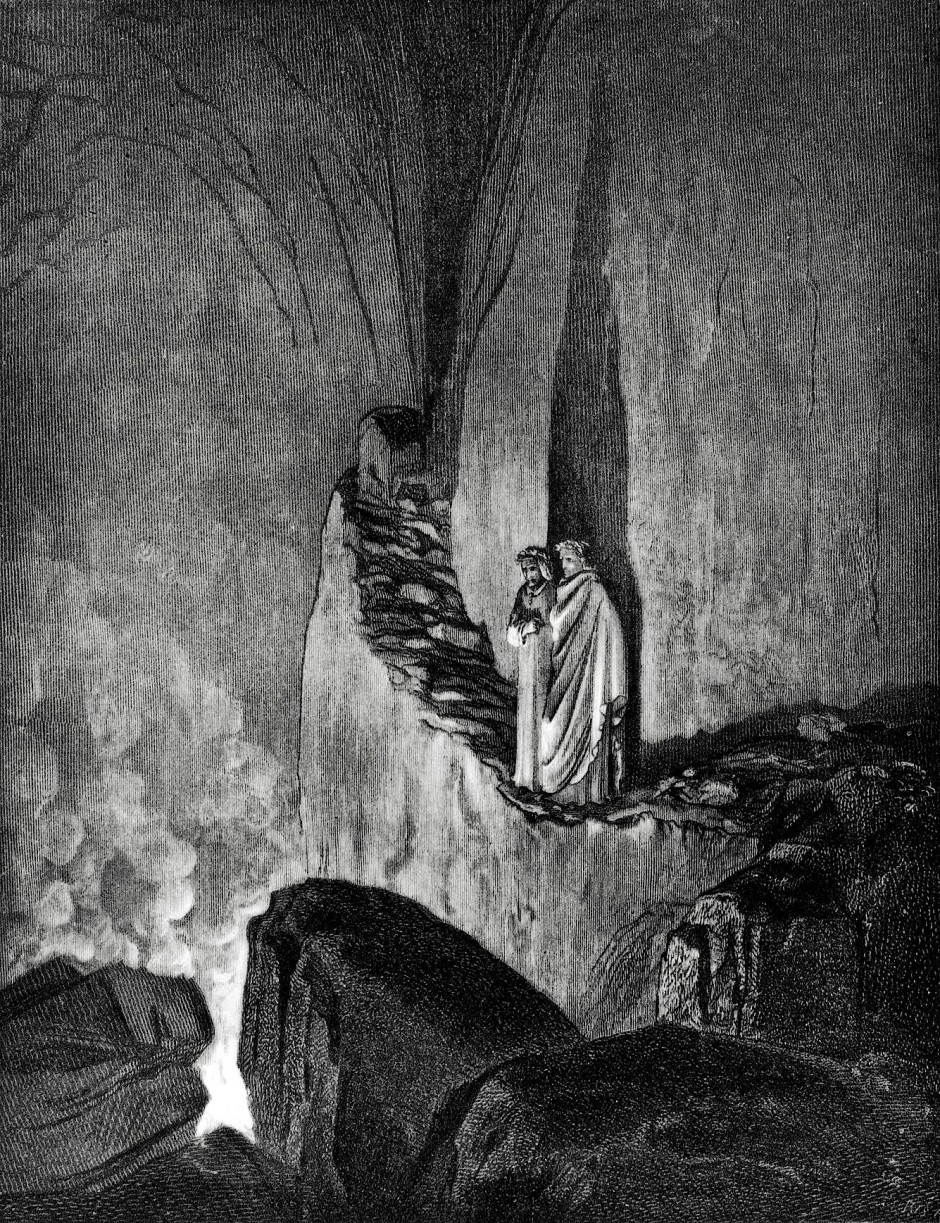 Dante Alighieri und Vergil auf dem Weg hinab in die tiefste Hölle, festgehalten von Gustave Doré.