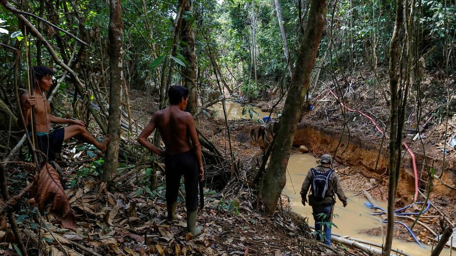 Yanomami folgen im April 2016 Beamten der brasilianischen Umweltbehörde im Einsatz gegen illegale Goldgräber auf ihrem Territorium.