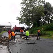 """Menschen entfernen Trümmer nach Zyklon """"Yasa"""" auf Fidschi."""