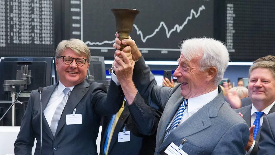 Ein Grund zu feiern: 30 Jahre Dax mit Börsenchef Theodor Weimer (links) und den Erfindern des Dax.