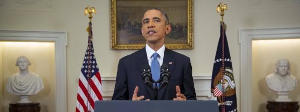 Der amerikanische Präsident Barack Obama bei seiner Ansprache im Weißen Haus