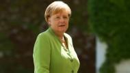 """""""Ich befürworte keine Zusammenarbeit mit der Linken-Partei, und das schon seit vielen Jahren"""": Angela Merkel am Montag in Berlin"""