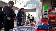 Eine Seltenheit: Modellautostand auf der Automobilausstellung in Frankfurt.