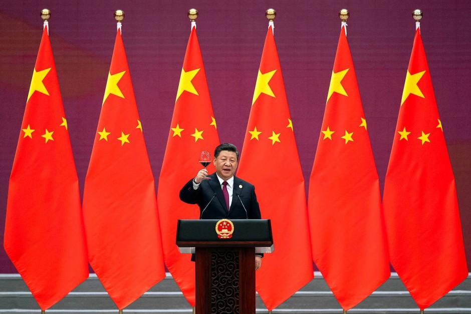 Chinas Präsident Xi Jinping auf einem Bankett des Projekts Neue Seidenstraße im Jahr 2019