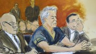 Eine Zeichnung aus dem Gerichtssaal von Jeffrey Epstein während der Verhandlung am 8. Juni 2019.
