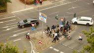 Engpass: Verkehrsinsel am Eschenheimer Tor.