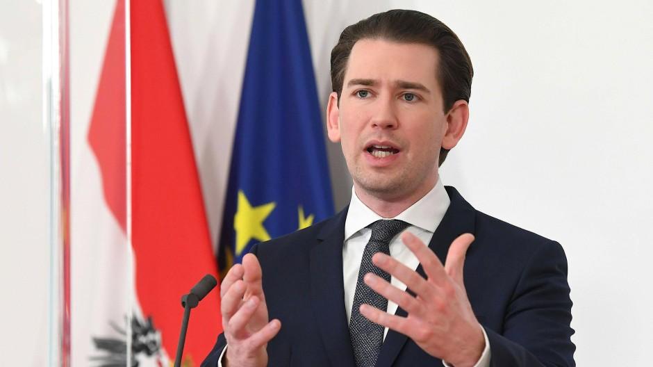 Österreichs Bundeskanzler Sebastian Kurz am 25. Februar während eines EU-Sondergipfels zur Pandemie in Wien