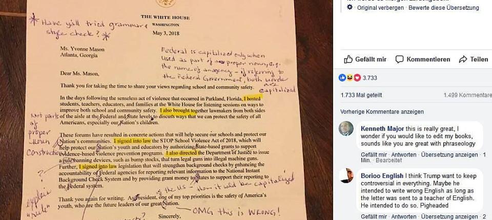 Lehrerin Korrigiert Brief Von Donald Trump