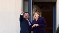 Angela Merkel und der türkische Premierminister Ahmet Davutoglu im Februar in Ankara