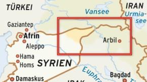 Karte / Kurdisch besiedelte Gebiete / Syrien