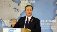 """""""Dies ist eine gewaltige Entscheidung für unser Land"""": David Cameron bei seiner Rede im Chatham House."""