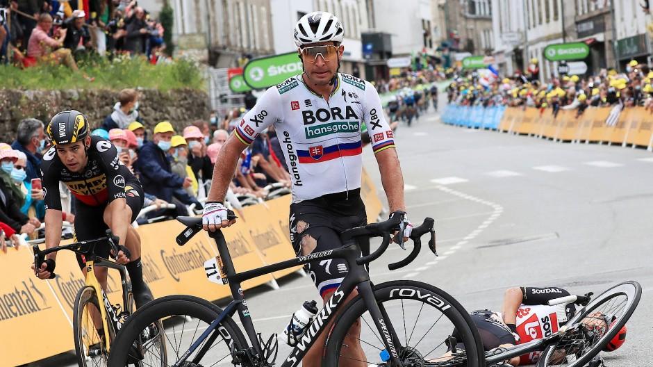 Peter Sagan nach einem Sturz bei der Tour de France: Für den Slowaken ist es das letzte Jahr im Trikot von Bora-hansgrohe
