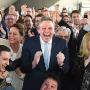 Ekstase an der Saar: Die CDU-Basis feiert.