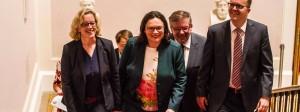 Lächelnd in Zwietracht: Natascha Kohnen, Andrea Nahles, Volkmar Halbleib und Markus Rinderspacher am Donnerstag im Bayerischen Landtag