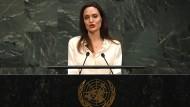 Hollywood-Star Angelina Jolie hielt in New York eine Rede vor den Vereinten Nationen.