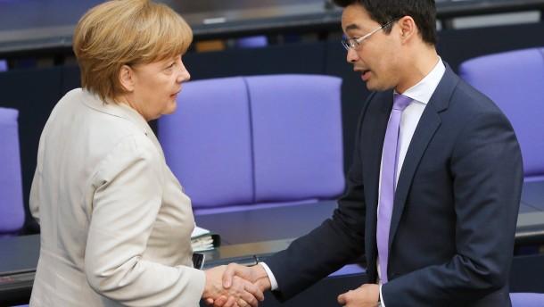 Angela Merkel und Philipp Rösler im Bundestag