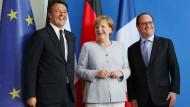 Merkel, Hollande und Renzi wollen zusammenhalten