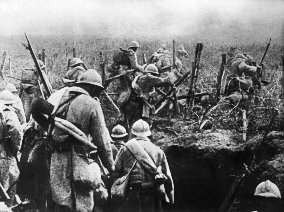 Französische Soldaten auf dem Vormarsch