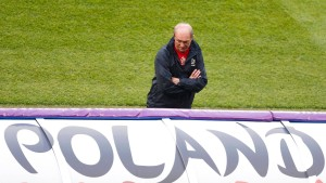 Poland's coach Smuda attends a training session during the Euro 2012 at City stadium in Wroclaw