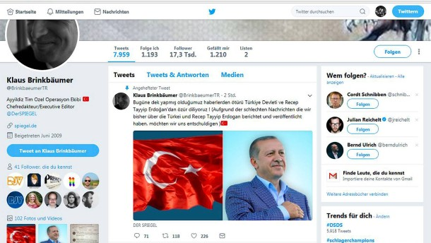 Twitter account von spiegel chef klaus brinkb umer gehackt for Spiegel leserreisen