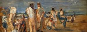 """Max Liebermann ist in der Schau """"Max Liebermann und Zeitgenossen"""" mit über 30 Werken vertreten. Auf dem Bild: Badende Knaben, um 1899, Öl auf Malkarton, 33 x 41 cm"""