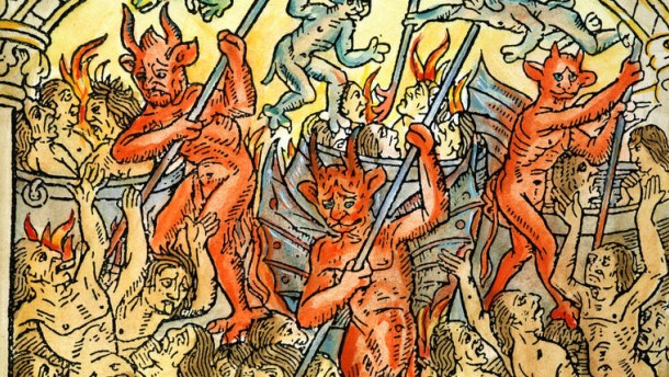HELL: SEVEN DEADLY SINS The lustful are smothered in fire and brimstone as infernal punishment for one of the Seven Deadly Sins: French colored woodcut, 1496.