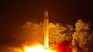 Test des Raketenmodells Hwasong14 im Juli.