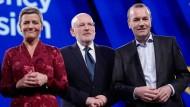 Die drei Spitzenkandidaten für das Amt des EU-Kommissionspräsidenten: Margrethe Verstager, Frans Timmermans und Manfred Weber (v.l.n.r.)