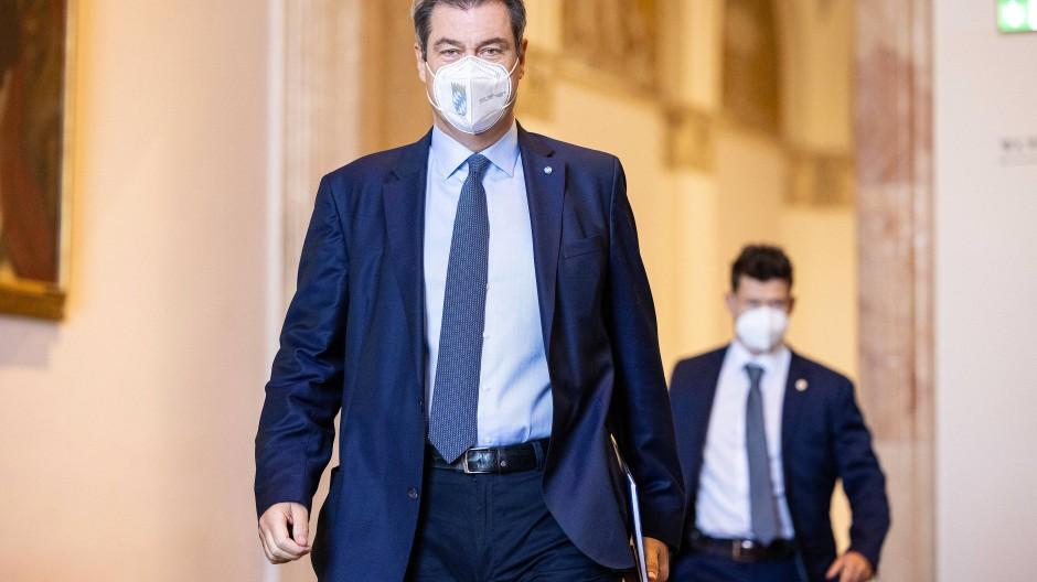 Söder nach einer Plenarsitzung im Landtag vergangene Woche