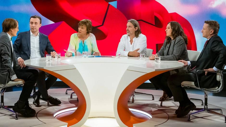 Auch mal im Zeichen der SPD: die Talkrunde bei Maybrit Illner