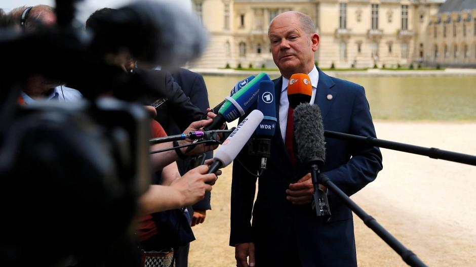 Der deutsche Finanzminister Olaf Scholz am Mittwoch in Chantilly