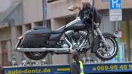 Ein von der Polizei sichergestelltes Motorrad